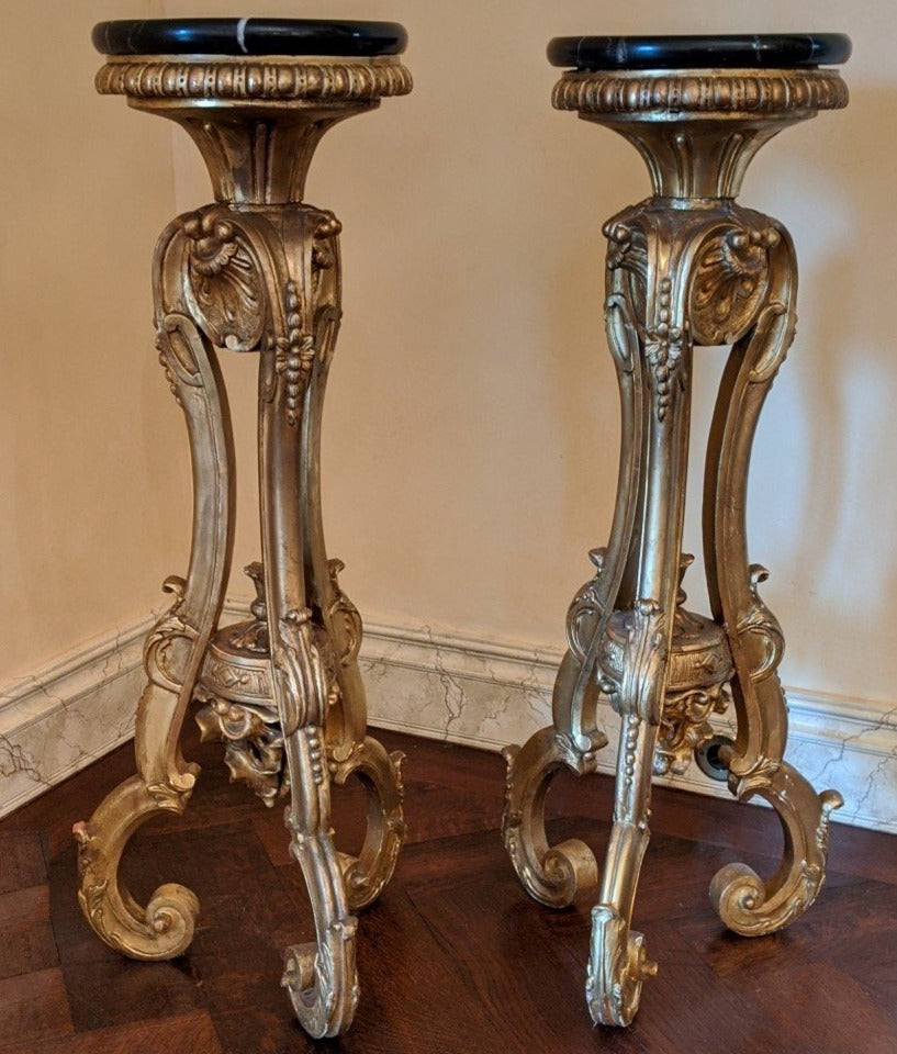ANTIQUE GILT PEDESTALS WITH NEWER MARBLE TOPS