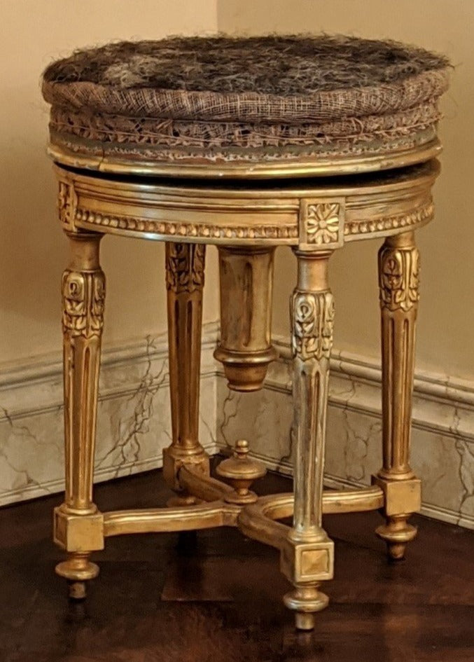 LOUIS XVI STYLE GILT ROTATING PIANO STOOL