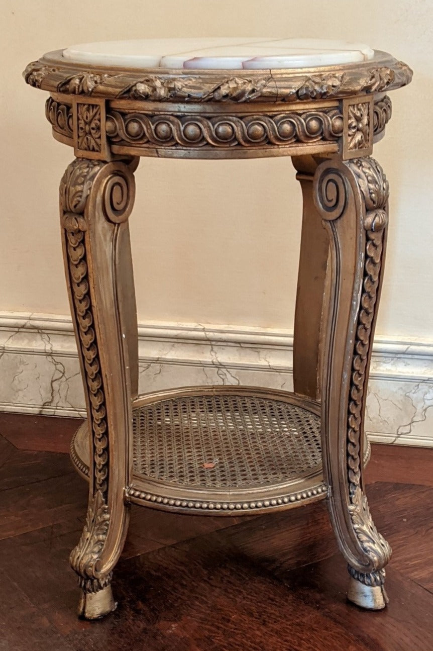 LOUIS XV GILTWOOD ONYX TOP SIDE TABLE