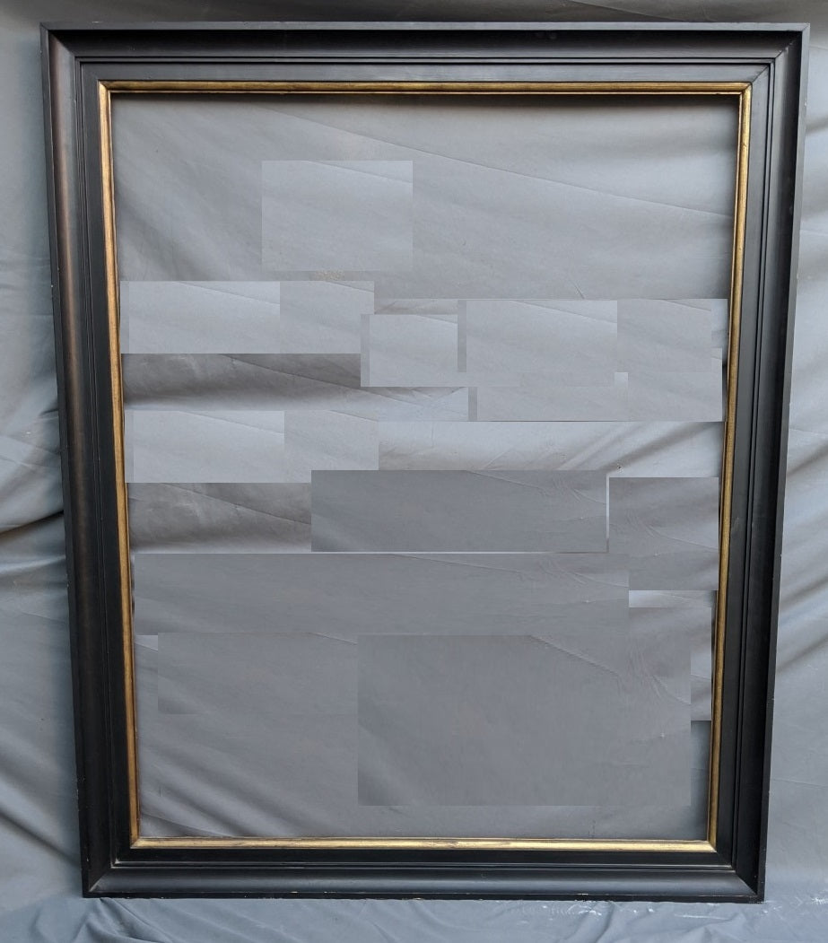 VERY LARGE EBONIZED WOOD FRAME WITH GILT INNER BORDER