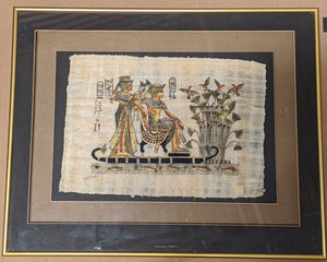EGYPTIAN PHARAOH AND SERVANT PRINT ON PAPYRUS FRAMED IN GLASS