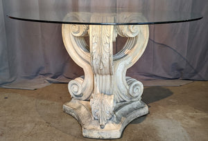CONCRETE BASE TABLE WITH ROUND GLASS TOP