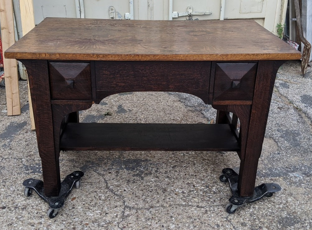 ARTS AND CRAFTS MISSION OAK DESK-PROJECT PIECE