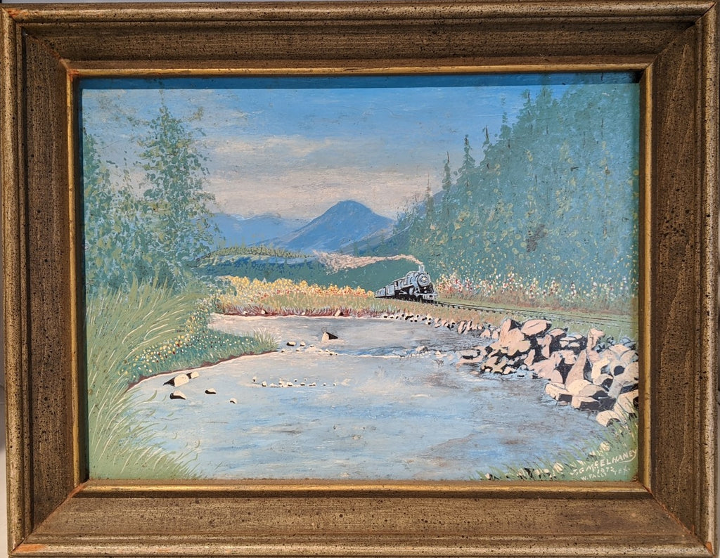 FRAMED OIL PAINTING OF TRAIN BY A RIVER BY J. G. MC. ELHEY