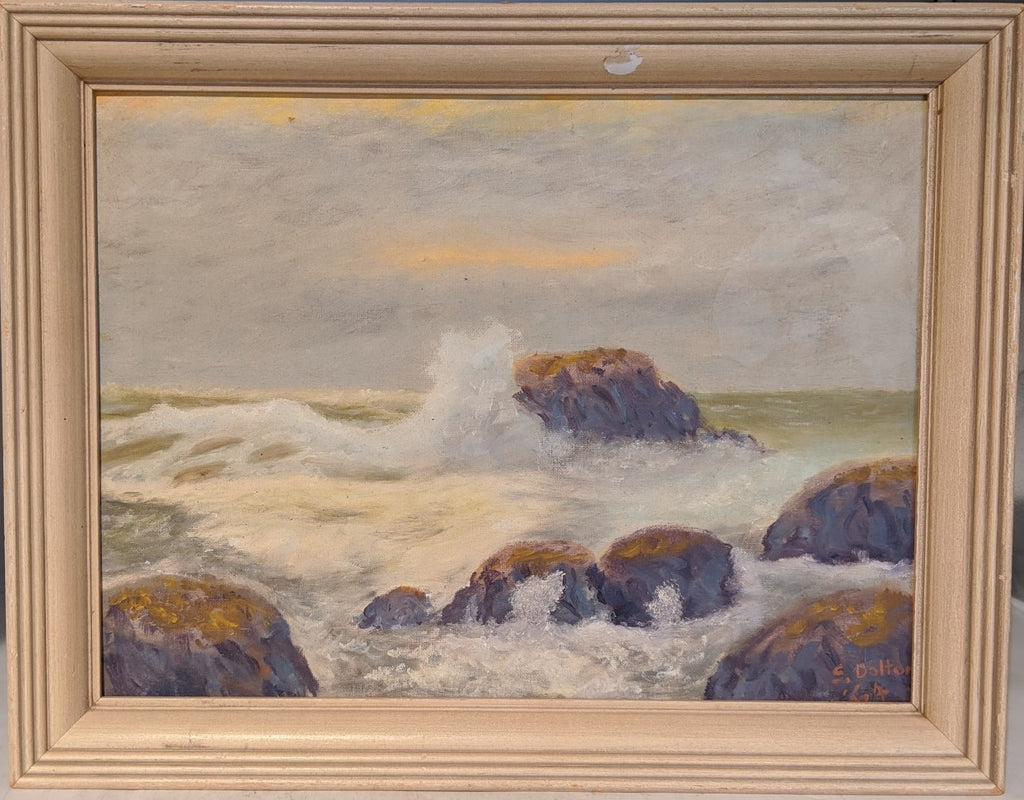 FRAMED SEASCAPE OIL PAINTING BY S. DALTON