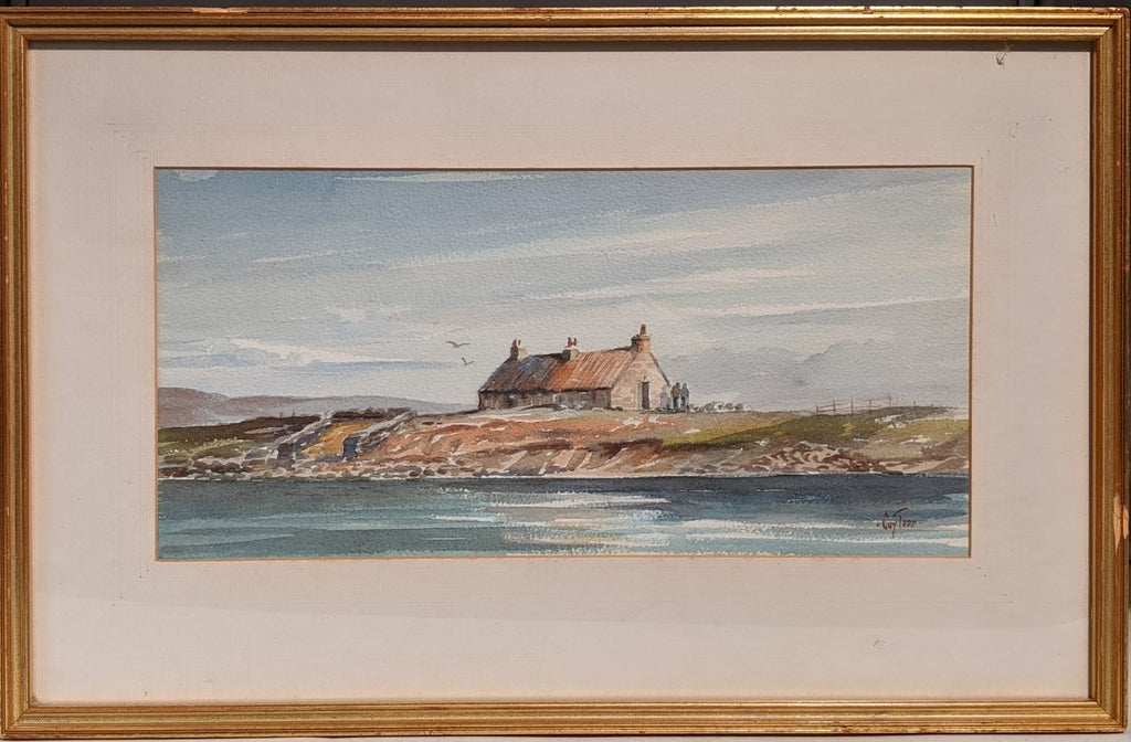 WATER COLOR PAINTING OF HOUSE ALONG A ROCKY COAST BY COY TODD