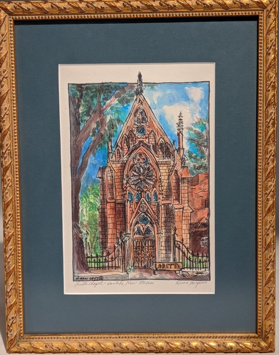PAINTING OF LORETTO CHAPEL NEW MEXICO  BY KARIN LEVY