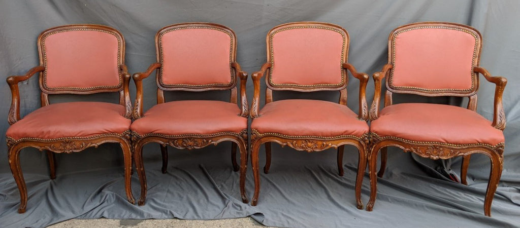 SET OF FOUR LOUIS XV ARM CHAIRS