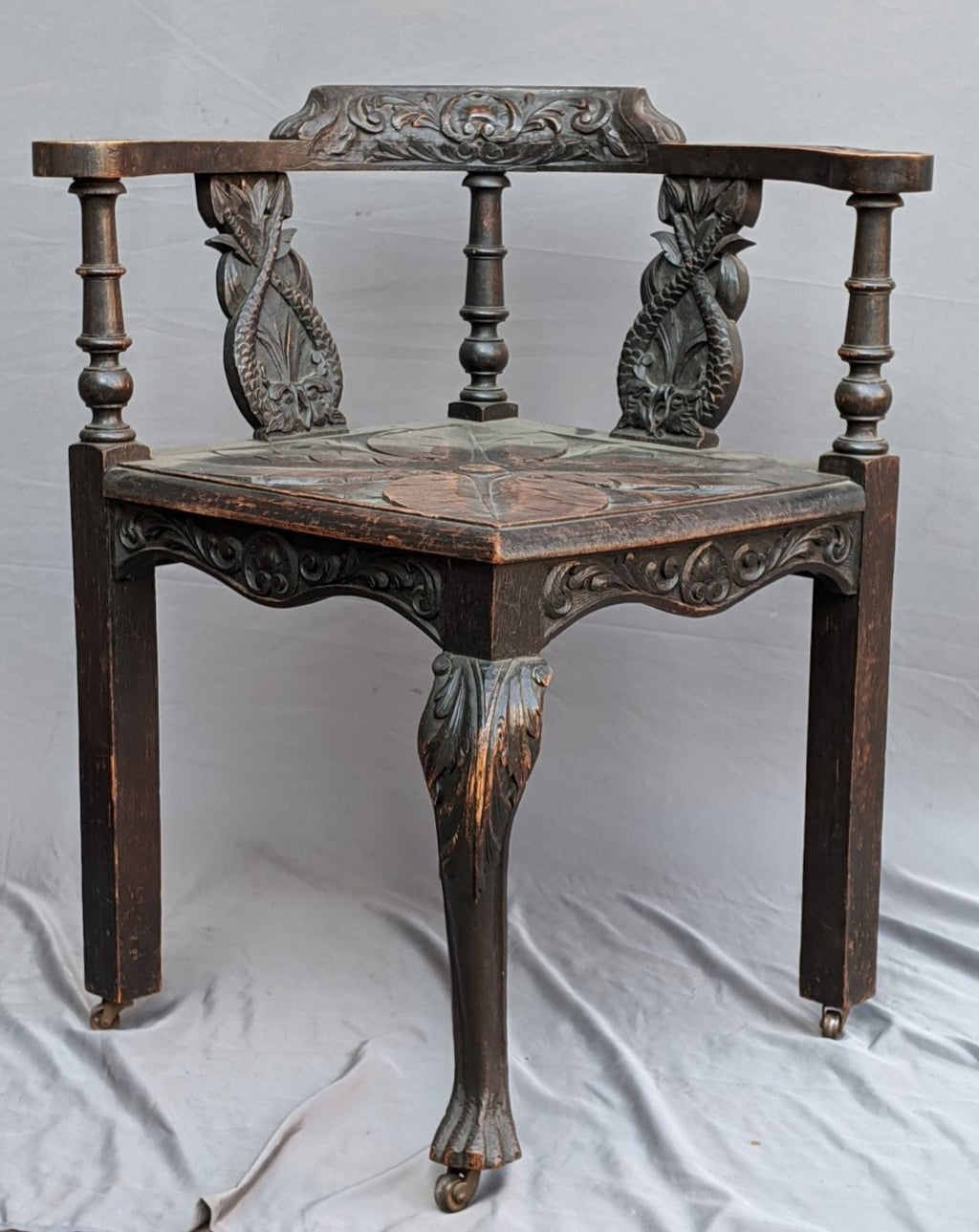 DARK OAK ENGLISH DOLPHIN CARVED CORNER CHAIR