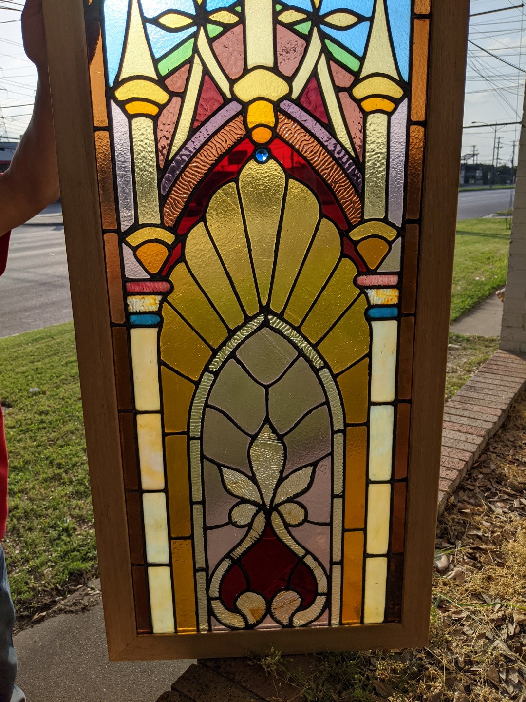 PAIR GOTHIC OAK FRAMED STAINED GLASS WINDOWS