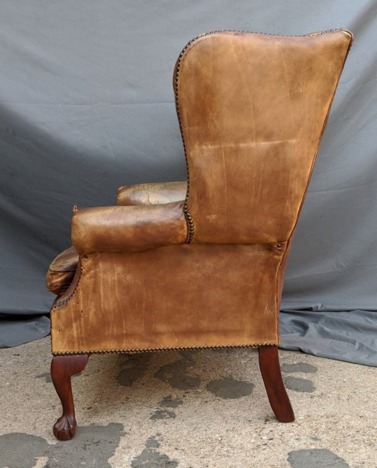 VINTAGE TUFTED LEATHER CHIPPENDALE CHAIR
