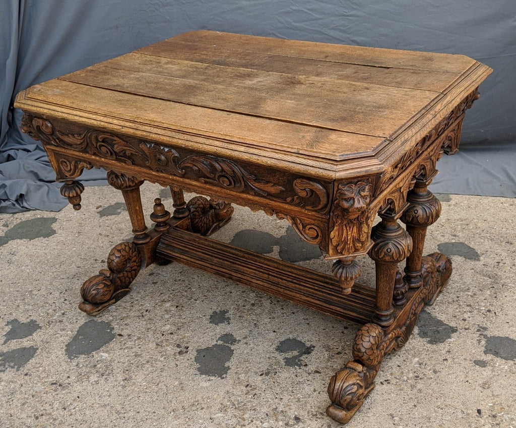 19TH CENTURY CARVED DOLPHIN LEG LIBRARY TABLE AS IS