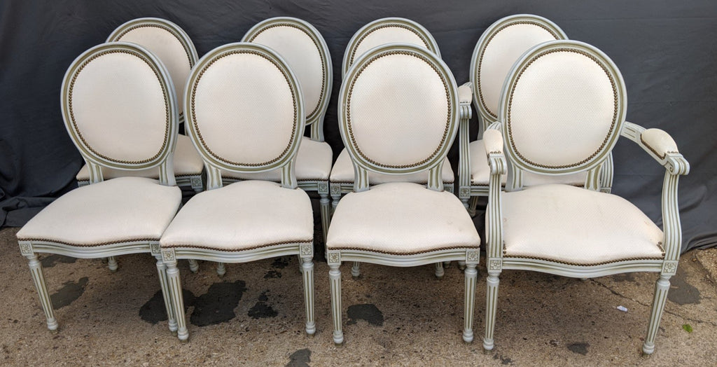 SET OF 8 LOUIS XVI WHITE BALLOON BACK CHAIRS