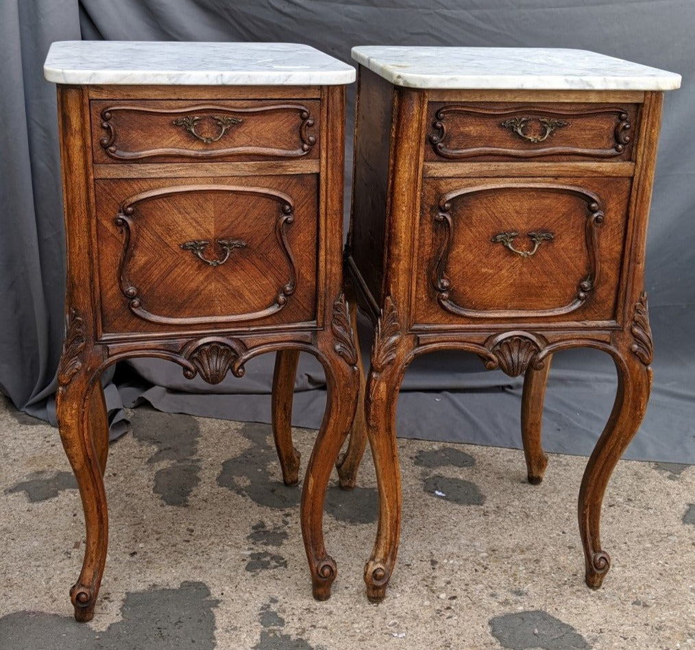PAIR LARGE LOUIS XV WALNUT MARBLE TOP NIGHT STANDS