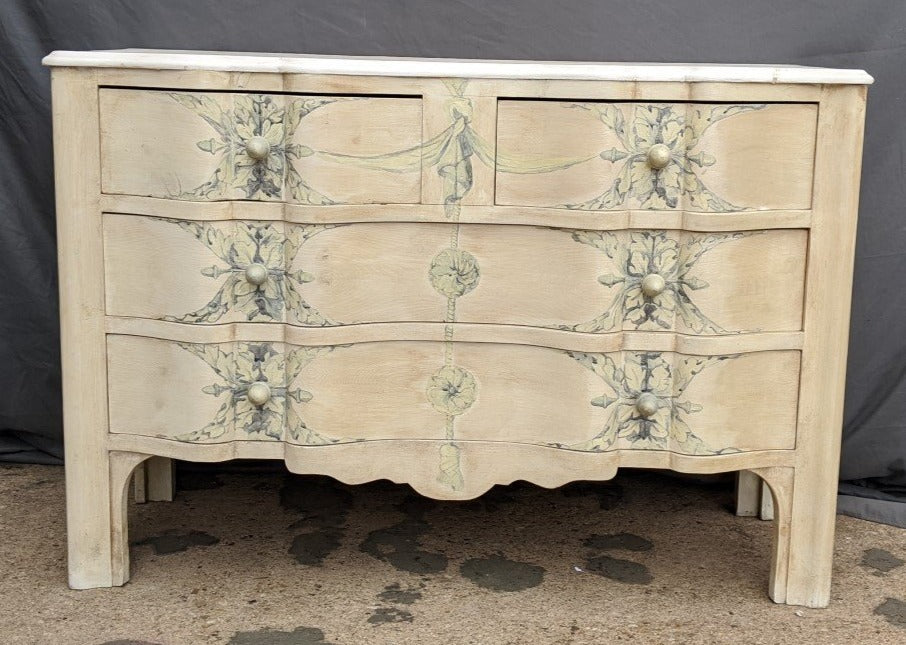 PAINTED CHEST WITH ACORN HANDLES