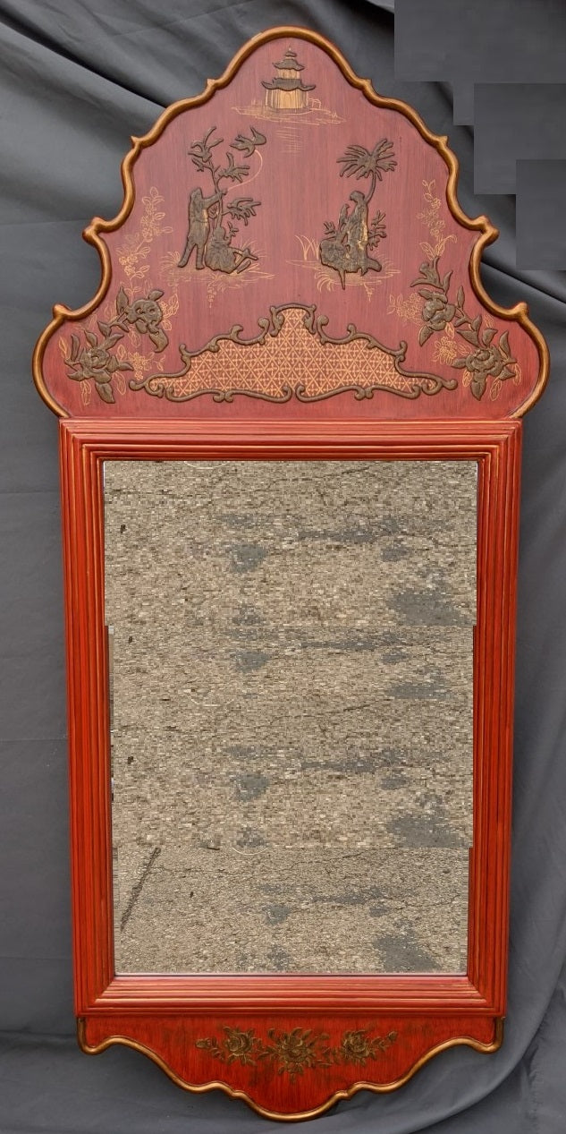 LARGE CHINOSERIE RED LACQUER MIRROR