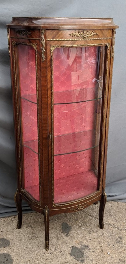 LOUIS XV SMALL CURVED FRONT VITRINE WITH ORMOLU