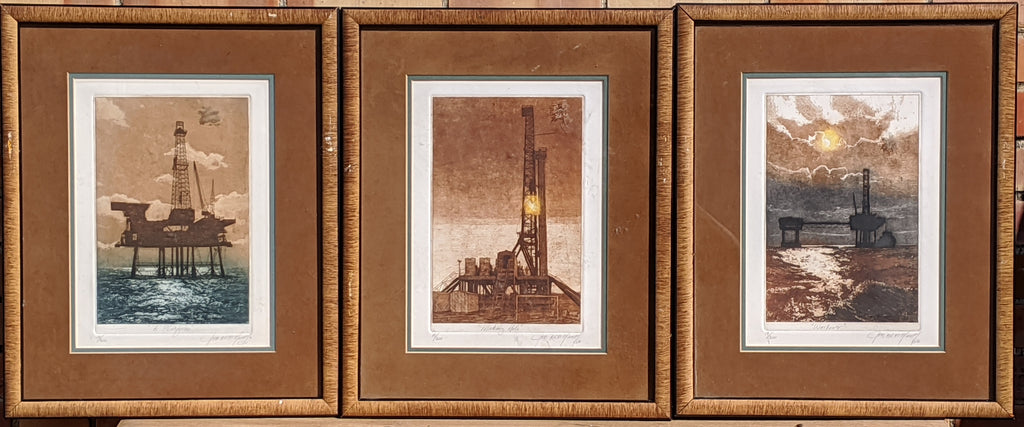 SET OF 3 OIL FIELD AND OIL DERRICK SIGNED ENGRAVINGS