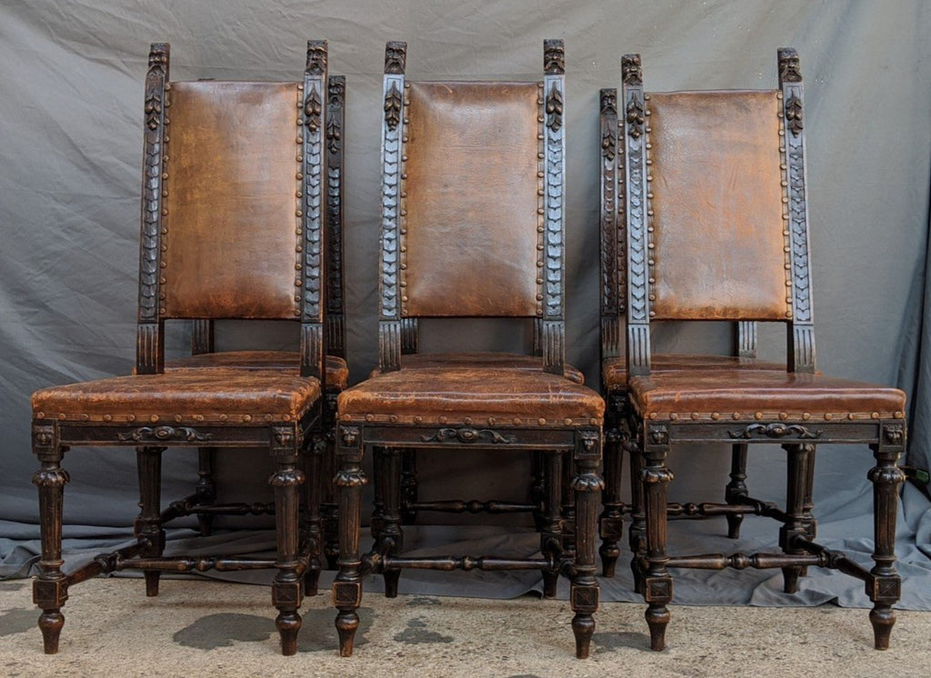 SET OF 6 LION HEAD CHAIRS WITH LEATHER SEATS