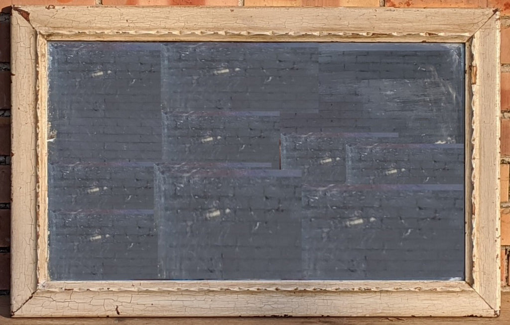 PRIMITIVE CRACKLE PAINTED BEVELED GLASS MIRROR