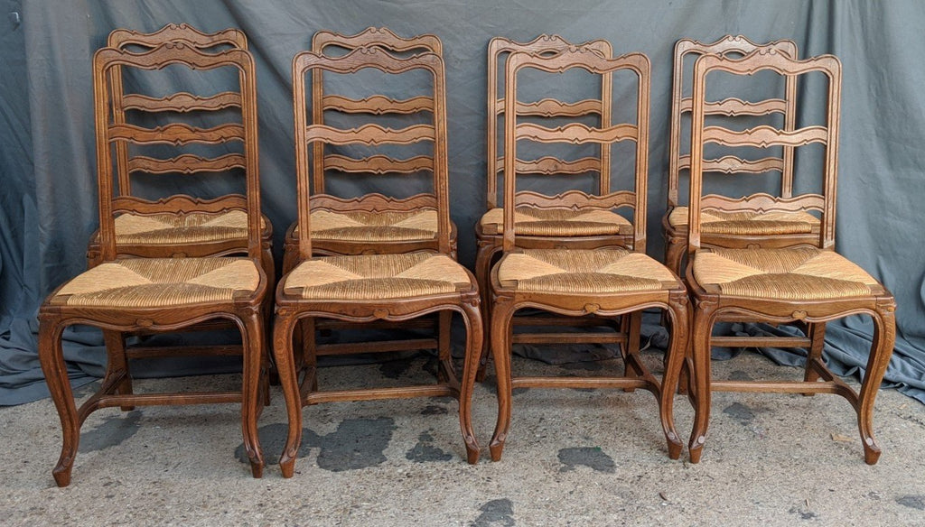 SET OF 8 LOUIS XV LADDER BACK RUSH SEAT CHAIRS