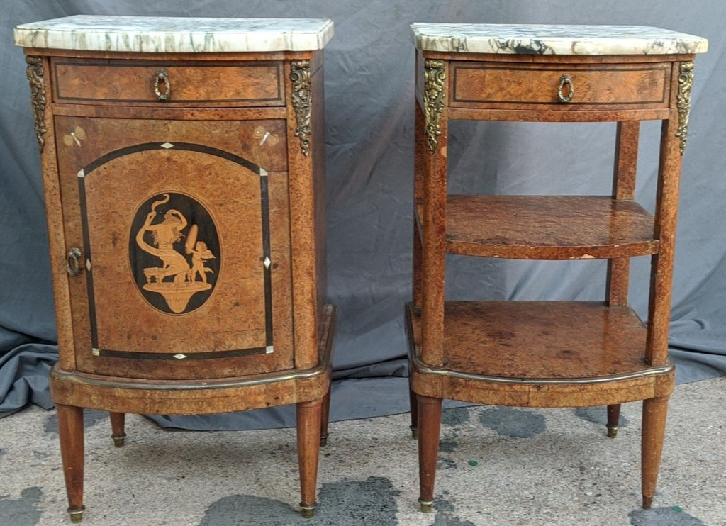 PAIR OF MARBLE TOP FRENCH NIGHT STANDS WITH ORMOLU AND INLAY