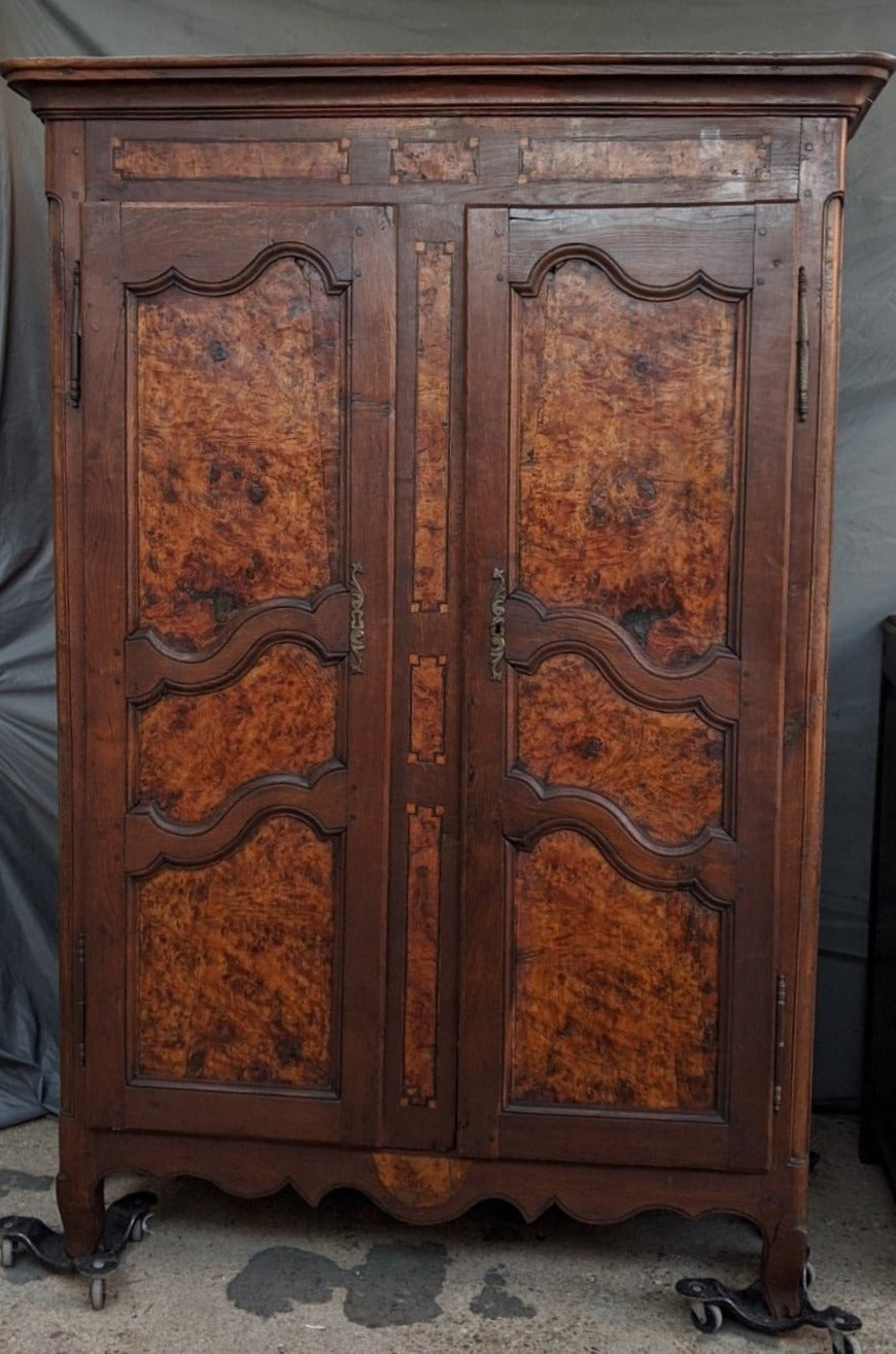 EARLY BRESSON LOUIS XV STYLE ARMOIRE WITH SOLID BURL DOORS