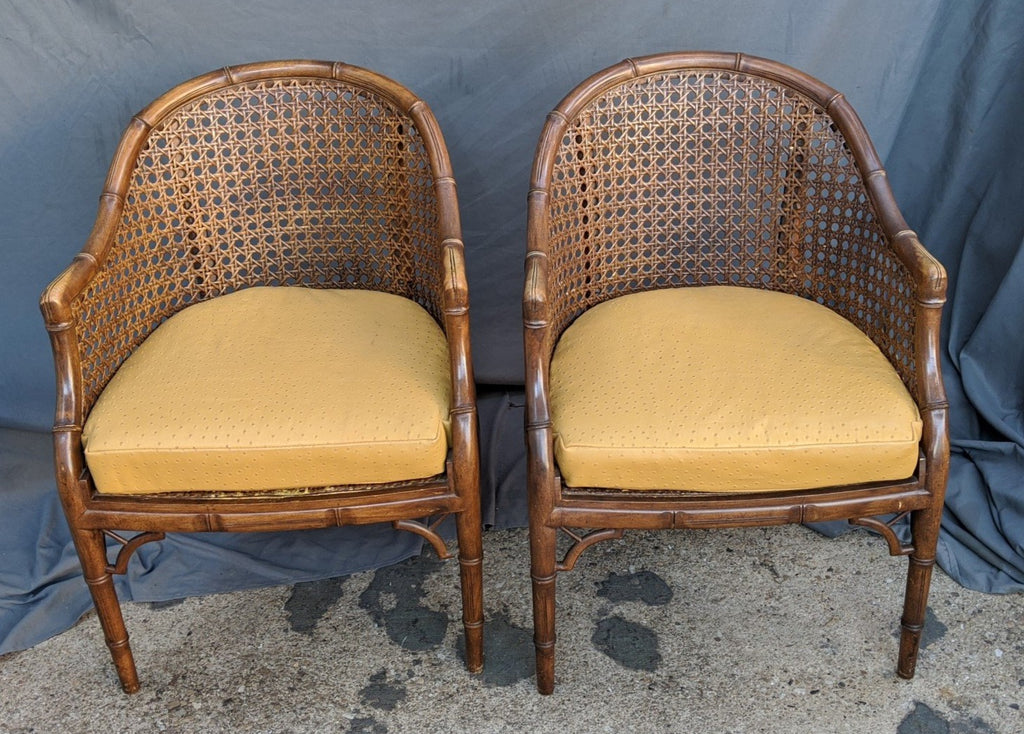 PAIR OF FAUX BAMBOO AND CANE SIDES CLUB CHAIRS