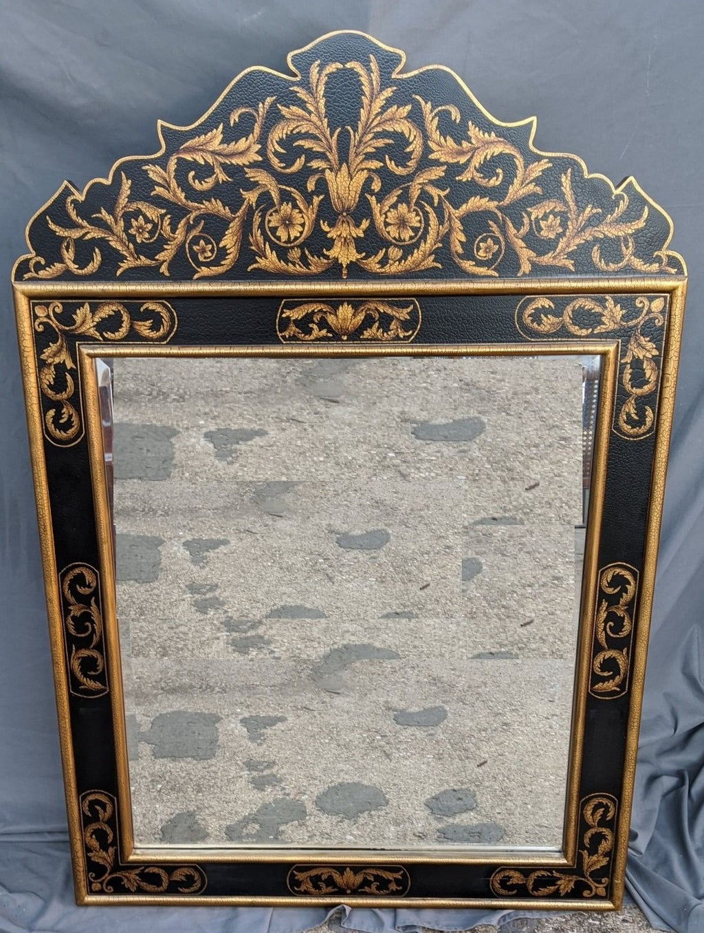 BLACK PAINTED MIRROR WITH PEDIMENT AND GOLD DETAIL