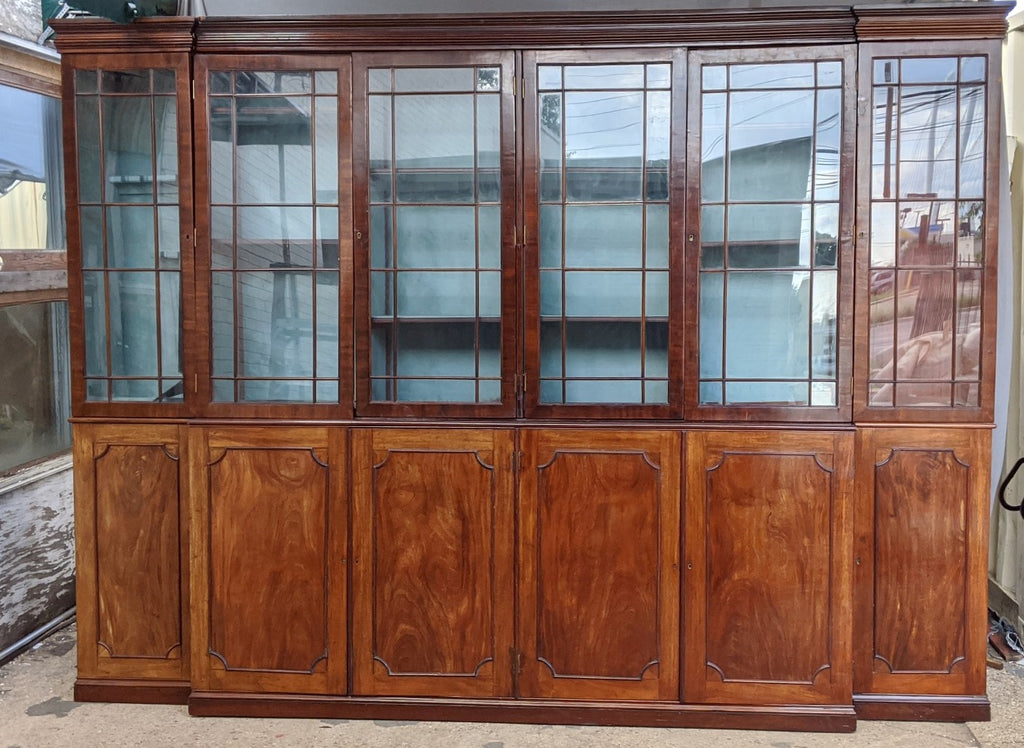 HUGE EARLY ENGLISH MAHOGANY BREAKFRONT OR BOOKCASE