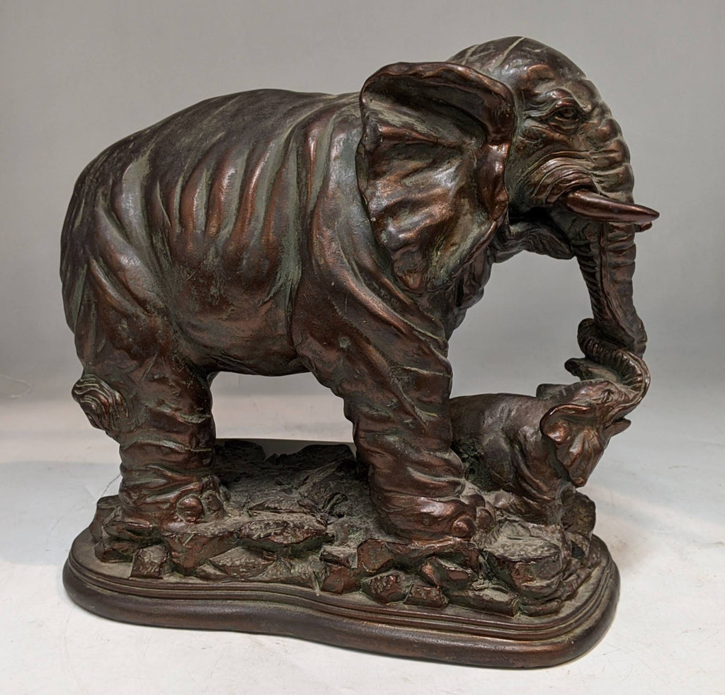 BROWN ELEPHANT AND BABY STATUE IN RESIN