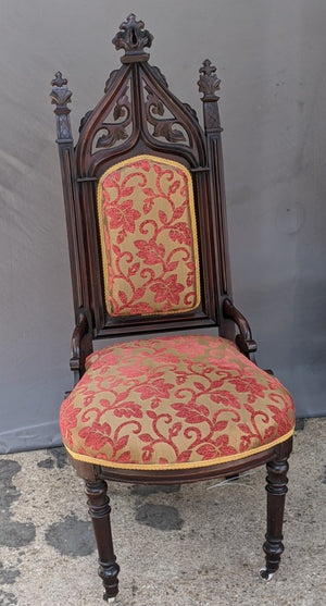CARVED GOTHIC WALNUT CHAIR