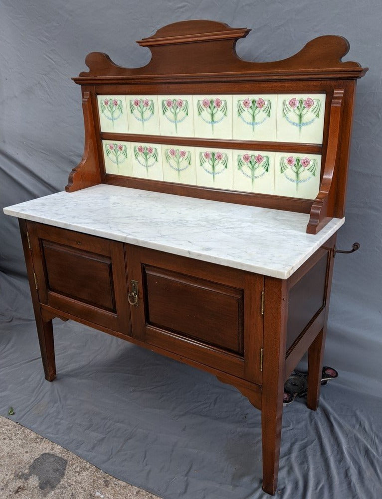 ENGLISH OAK MARBLE TOP TILE BACK WASHSTAND