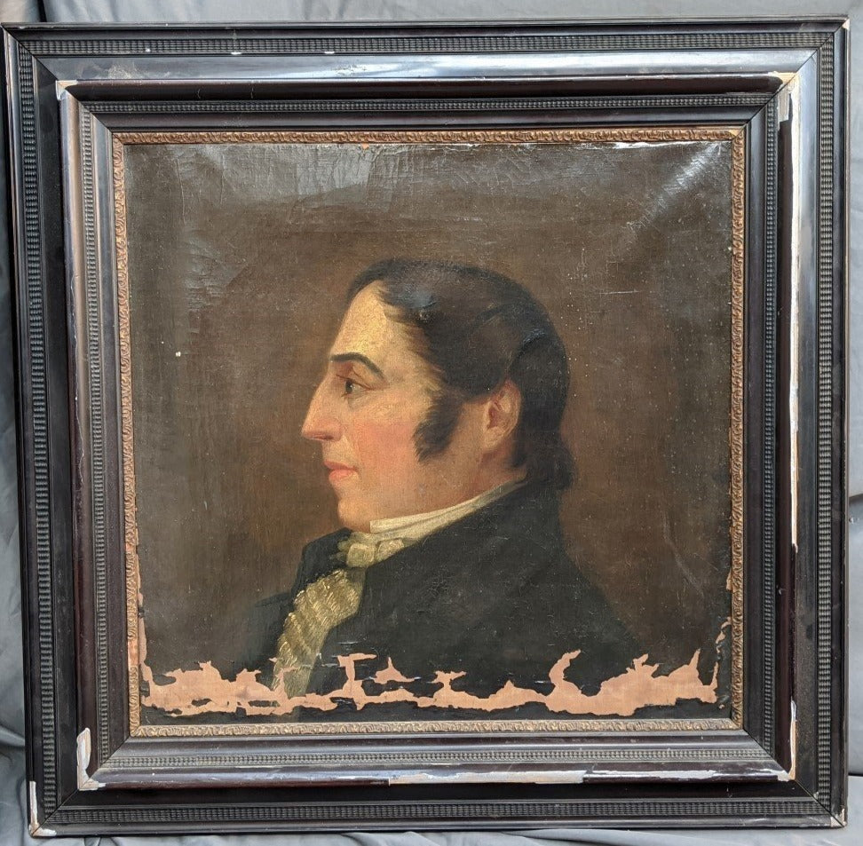FRENCH NOBLEMAN OIL PAINTING AS FOUND