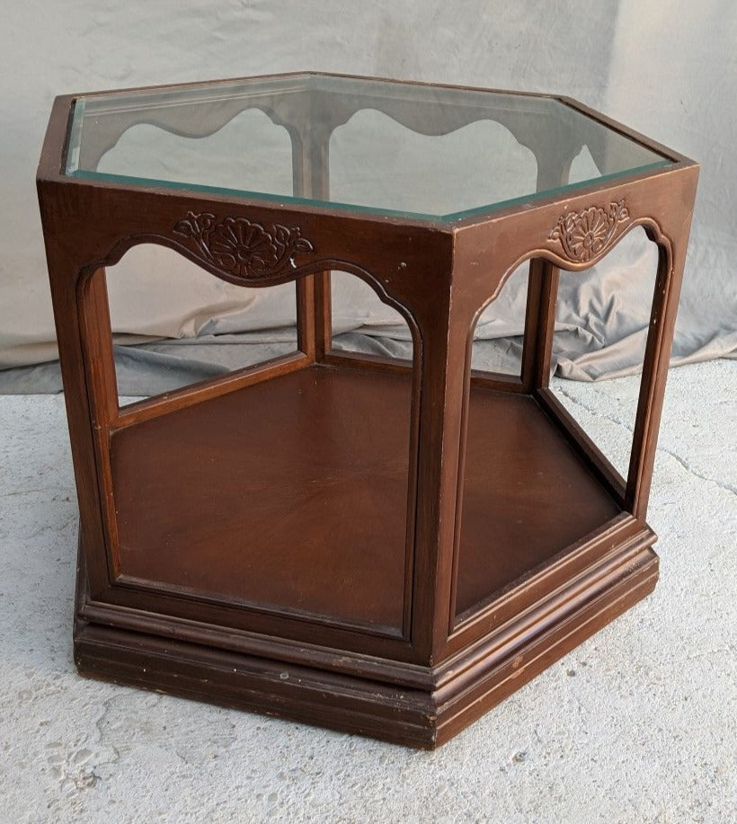 GOTHIC STYLE HEXAGON TABLE WITH GLASS TOP
