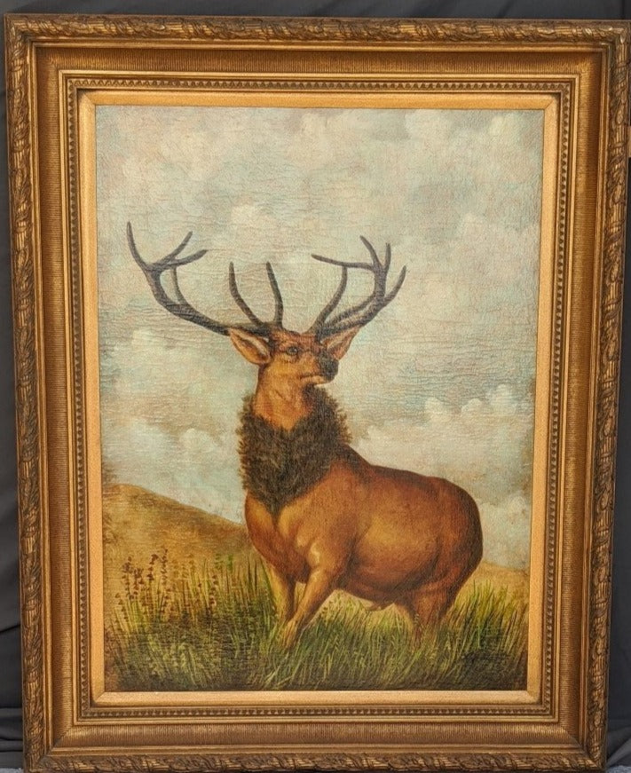 LARGE STAG OIL PAINTING IN GOLD FRAME