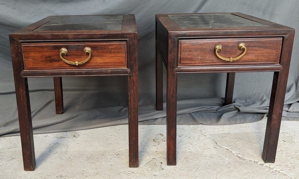 PAIR OF CHINOISERIE MARBLE TOP END TABLES