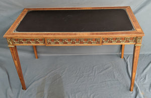 LOUIS XVI STYLE LEATHER TOP WRITING TABLE WITH DRAWER
