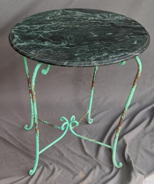 GREEN MARBLE TOP IRON TABLE