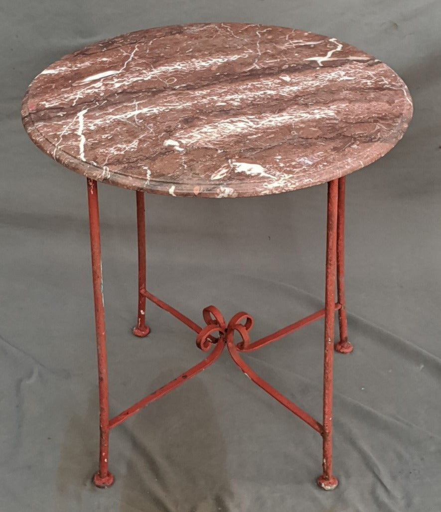 RED MARBLE TOP IRON TABLE