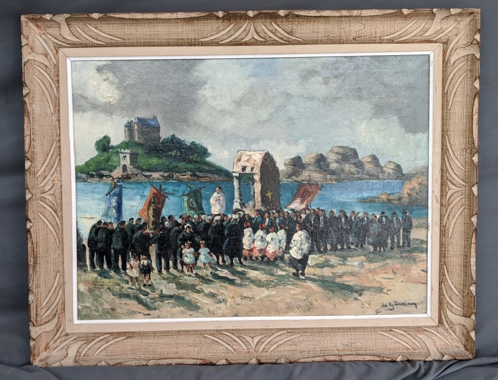 FRAMED OIL PAINTNG OF RELIGIOUS PROCESSION