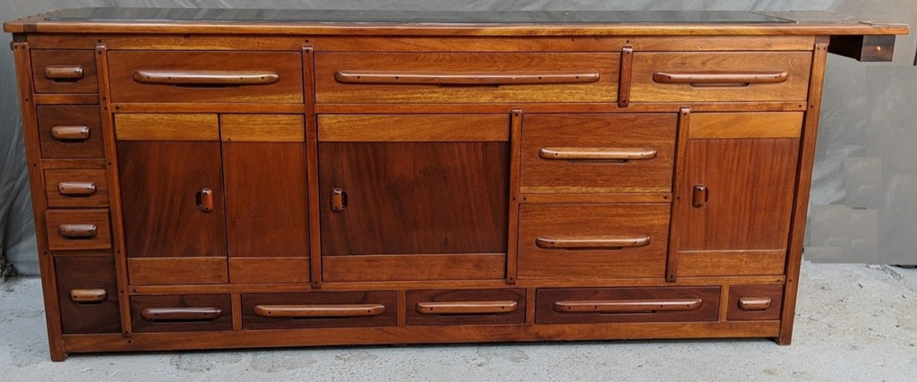 EXOTIC WOOD DESIGNER SIDEBOARD WITH GRANITE TOP