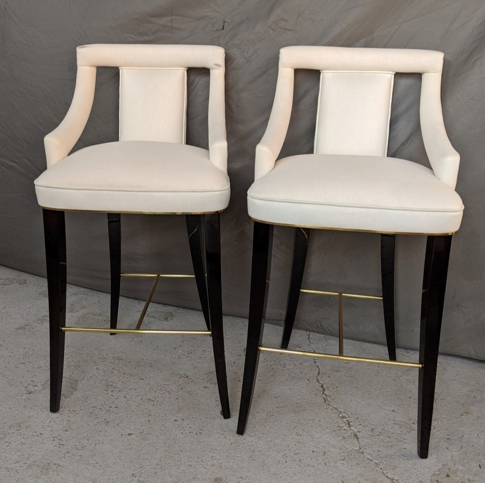PAIR OF DESIGNER WHITE AND BLACK LACQUER STOOLS