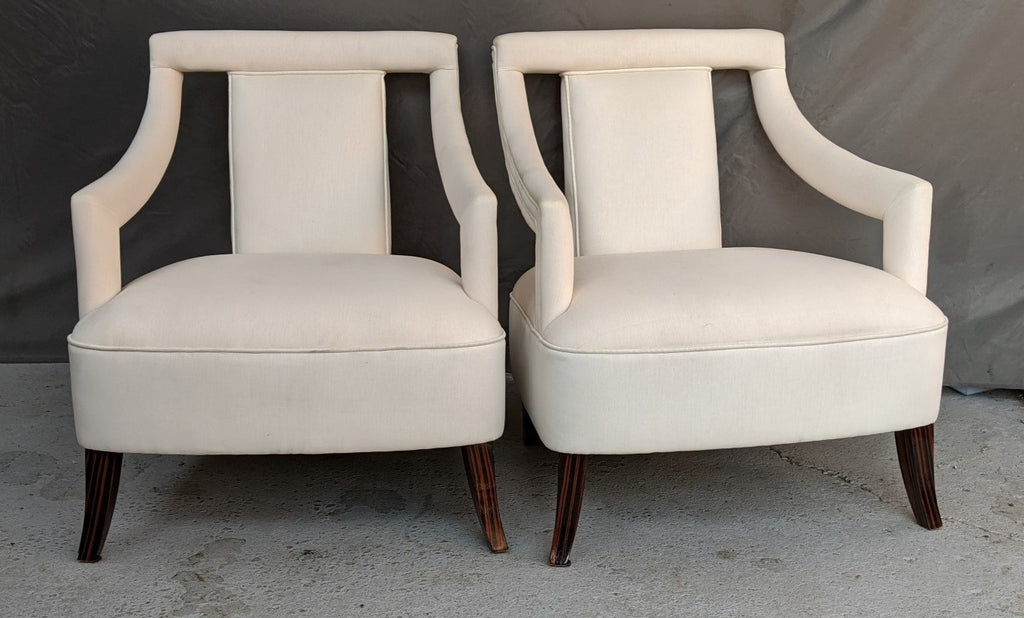 PAIR OF DESIGNER ARM CHAIRS WITH ROSEWOOD LEGS