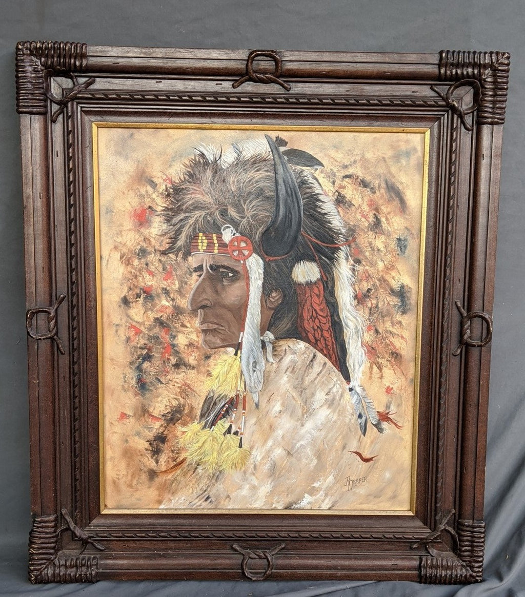 AMERICAN INDIAN VERTICAL OIL PAINTING BY B. DRAPER