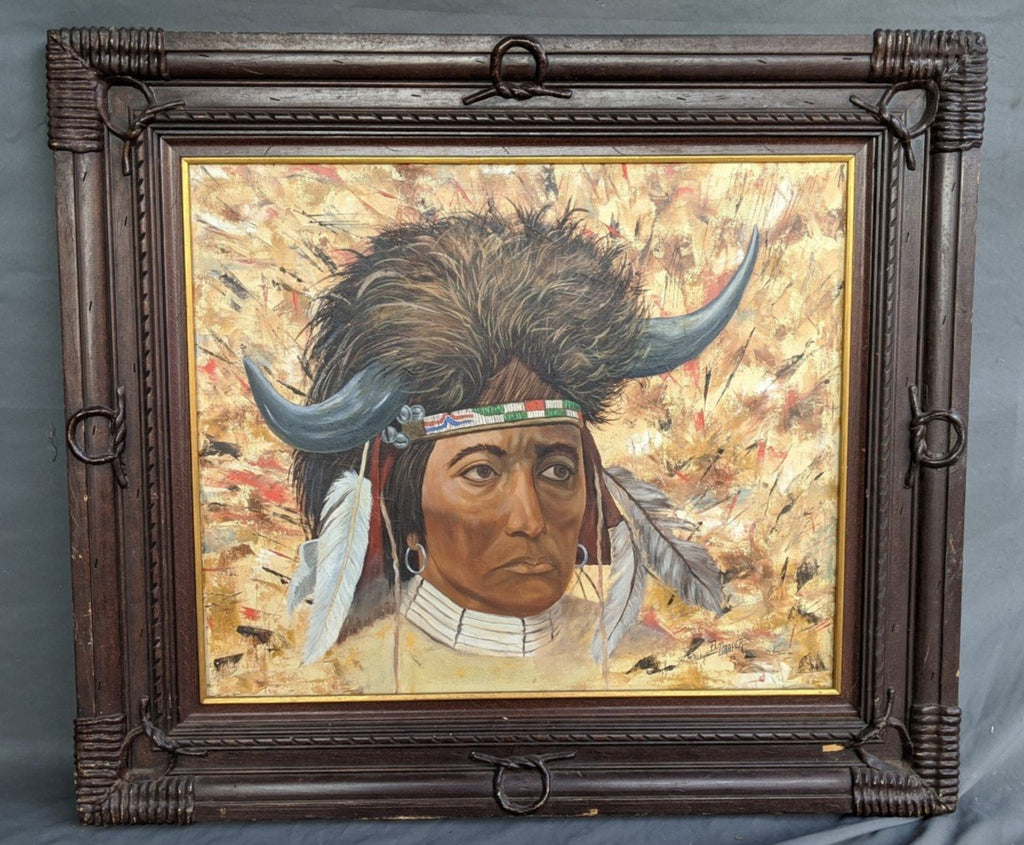 AMERICAN INDIAN HORIZONTAL OIL PAINTING BY B. DRAPER