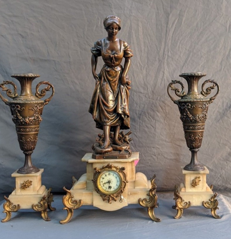 LARGE 3 PIECE FIGURAL LADY CLOCK SET-ALMOST 3 FEET TALL