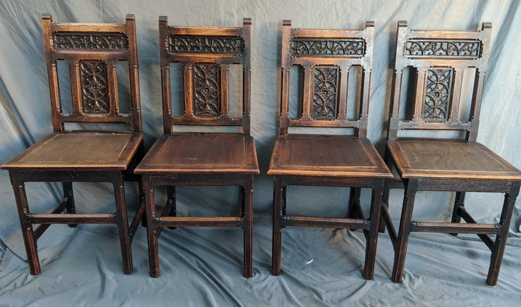 SET OF 4 GOTHIC OAK CHAIRS