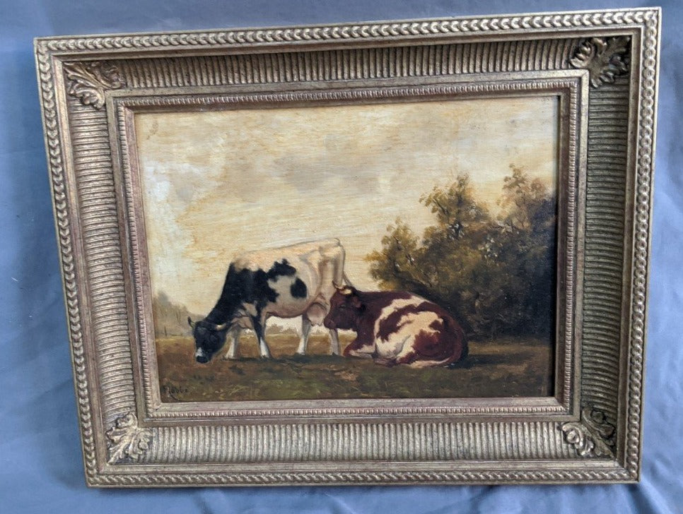 SMALL BOVINE OIL PAINTING