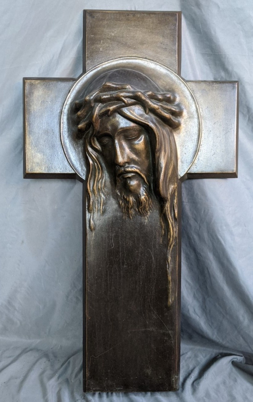 PLASTER CRUCIFIX WITH FACE OF JESUS